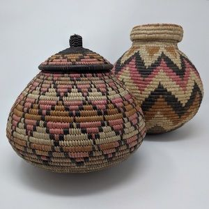 Vintage 90s African Zulu Baskets Set of 2 Handmade